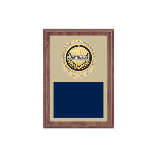 "5"" x 7"" Sportsmanship Plaque with gold background plate, colored engraving plate, gold wreath medallion and Sportsmanship insert."