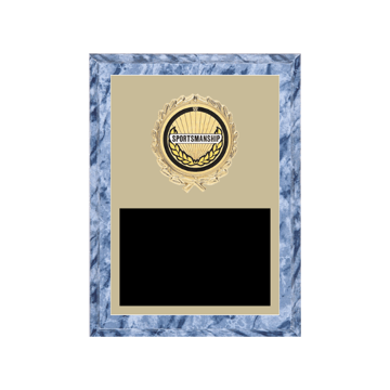 "6"" x 8"" Sportsmanship Plaque with gold background plate, colored engraving plate, gold wreath medallion and Sportsmanship insert."