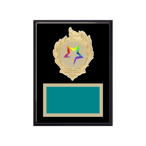"6"" x 8"" Star Plaque with gold background, colored engraving plate, gold flame medallion holder and Star insert."