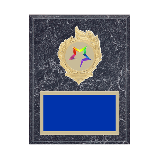 """7"""" x 9"""" Star Plaque with gold background, colored engraving plate, gold flame medallion holder and Star insert."""