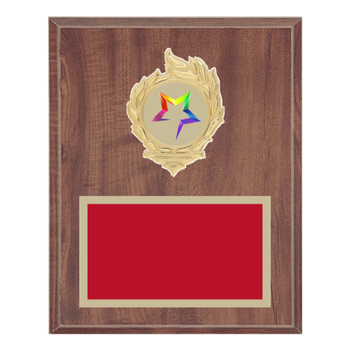 """8"""" x 10"""" Star Plaque with gold background, colored engraving plate, gold flame medallion holder and Star insert."""
