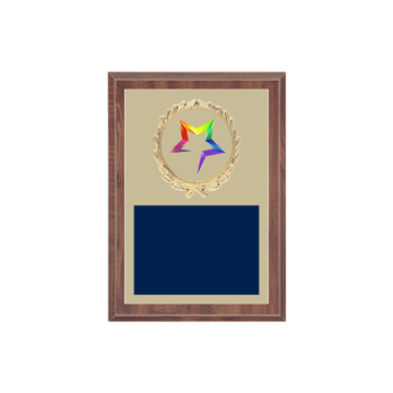 "5"" x 7"" Star Plaque with gold background plate, colored engraving plate, gold wreath medallion and Star insert."