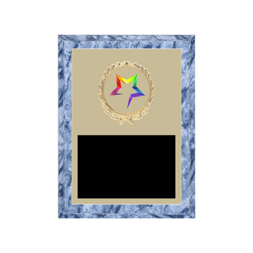 """6"""" x 8"""" Star Plaque with gold background plate, colored engraving plate, gold wreath medallion and Star insert."""