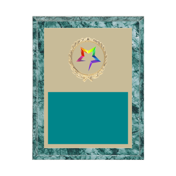 "7"" x 9"" Star Plaque with gold background plate, colored engraving plate, gold wreath medallion and Star insert."