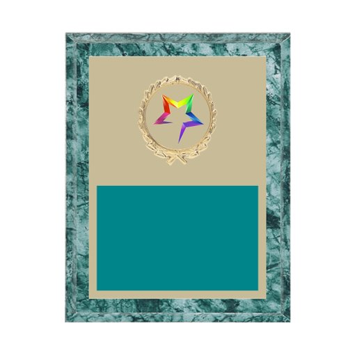 """7"""" x 9"""" Star Plaque with gold background plate, colored engraving plate, gold wreath medallion and Star insert."""