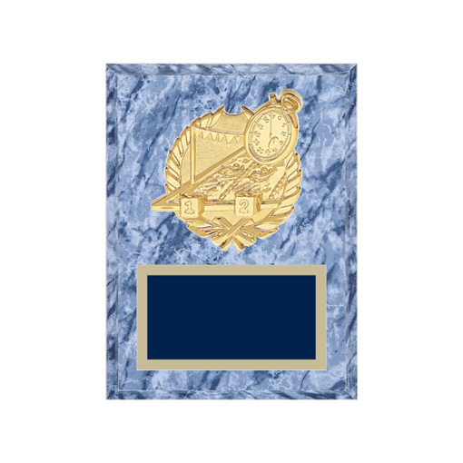 """6"""" x 8"""" Swimming Plaque with gold background plate, colored engraving plate and gold 3D Swimming medallion."""