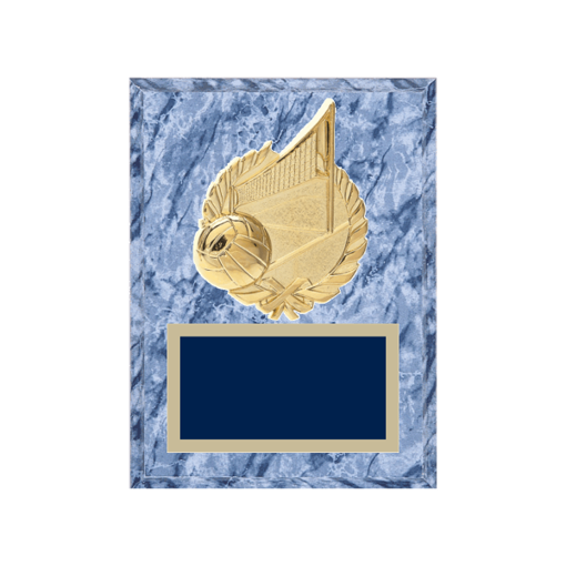 """6"""" x 8"""" Volleyball Plaque with gold background plate, colored engraving plate and gold 3D Volleyball medallion."""