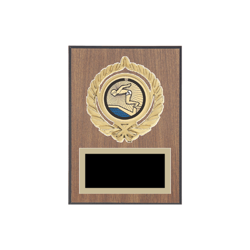 """5"""" x 7"""" Swimming Plaque with gold background plate, colored engraving plate, gold open wreath medallion holder and Swimming insert."""