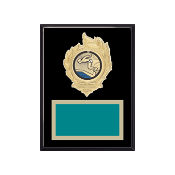 "6"" x 8"" Swimming Plaque with gold background, colored engraving plate, gold flame medallion holder and Swimming insert."