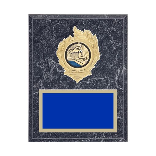 """7"""" x 9"""" Swimming Plaque with gold background, colored engraving plate, gold flame medallion holder and Swimming insert."""