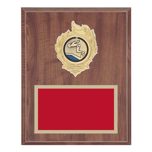 """8"""" x 10"""" Swimming Plaque with gold background, colored engraving plate, gold flame medallion holder and Swimming insert."""