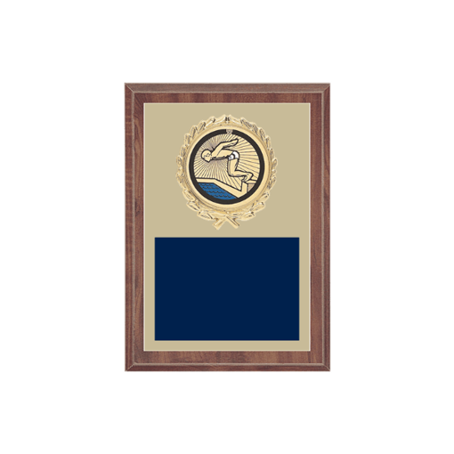 "5"" x 7"" Swimming Plaque with gold background plate, colored engraving plate, gold wreath medallion and Swimming insert."