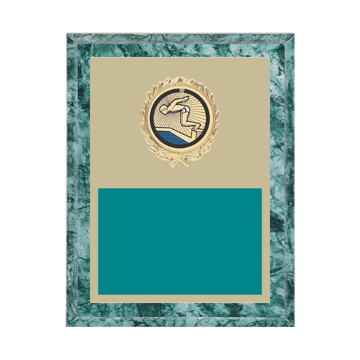 "7"" x 9"" Swimming Plaque with gold background plate, colored engraving plate, gold wreath medallion and Swimming insert."