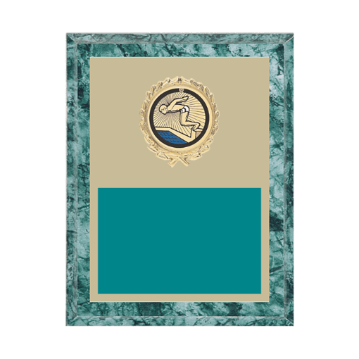 """7"""" x 9"""" Swimming Plaque with gold background plate, colored engraving plate, gold wreath medallion and Swimming insert."""