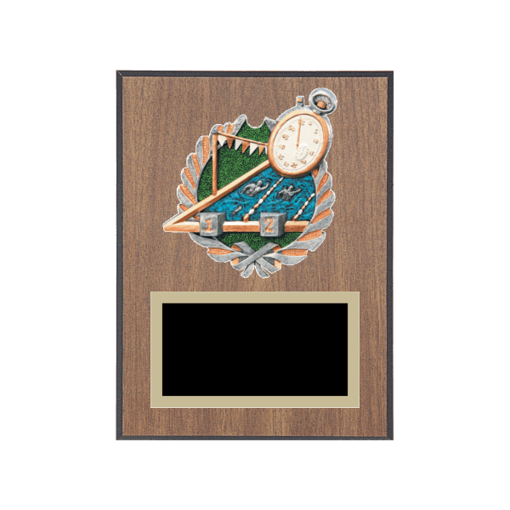 """6"""" x 8"""" Swimming Plaque with gold background plate, colored engraving plate and full color 3D resin Swimming medallion."""