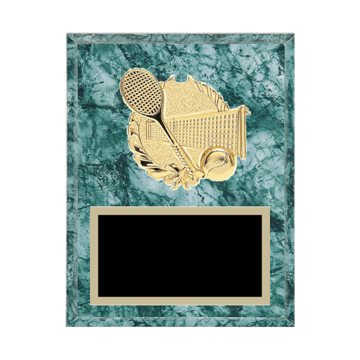 "7"" x 9"" Tennis Plaque with gold background plate, colored engraving plate and gold 3D Tennis medallion."