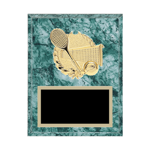 """7"""" x 9"""" Tennis Plaque with gold background plate, colored engraving plate and gold 3D Tennis medallion."""