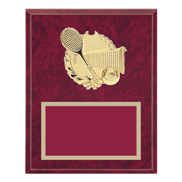 "8"" x 10"" Tennis Plaque with gold background plate, colored engraving plate and gold 3D Tennis medallion."