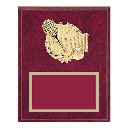 """8"""" x 10"""" Tennis Plaque with gold background plate, colored engraving plate and gold 3D Tennis medallion."""