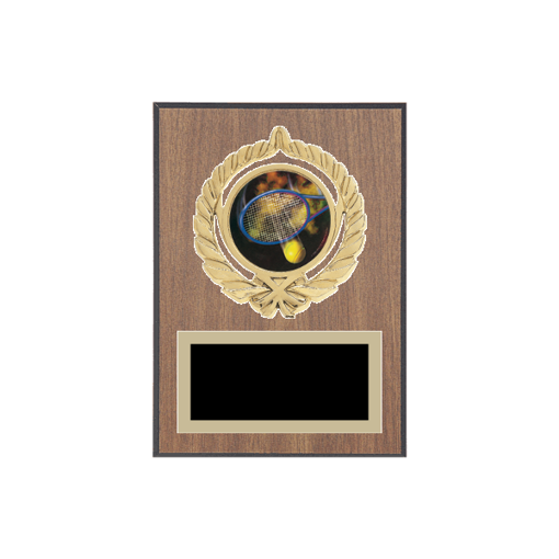 "5"" x 7"" Tennis Plaque with gold background plate, colored engraving plate, gold open wreath medallion holder and Tennis insert."