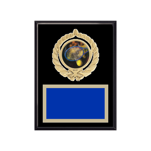 """6"""" x 8"""" Tennis Plaque with gold background plate, colored engraving plate, gold open wreath medallion holder and Tennis insert."""