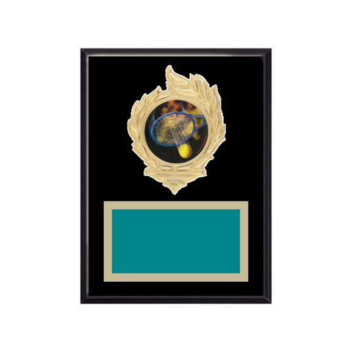 "6"" x 8"" Tennis Plaque with gold background, colored engraving plate, gold flame medallion holder and Tennis insert."
