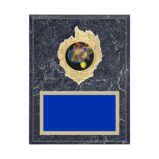"7"" x 9"" Tennis Plaque with gold background, colored engraving plate, gold flame medallion holder and Tennis insert."