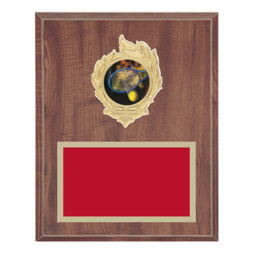 "8"" x 10"" Tennis Plaque with gold background, colored engraving plate, gold flame medallion holder and Tennis insert."