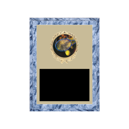 """6"""" x 8"""" Tennis Plaque with gold background plate, colored engraving plate, gold wreath medallion and Tennis insert."""