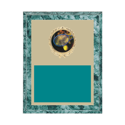 """7"""" x 9"""" Tennis Plaque with gold background plate, colored engraving plate, gold wreath medallion and Tennis insert."""