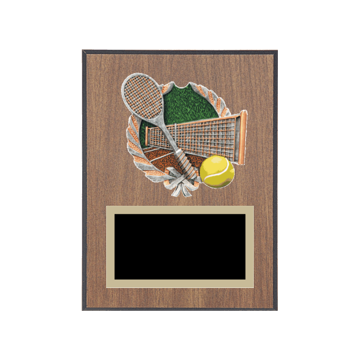 "6"" x 8"" Tennis Plaque with gold background plate, colored engraving plate and full color 3D resin Tennis medallion."