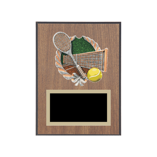 """6"""" x 8"""" Tennis Plaque with gold background plate, colored engraving plate and full color 3D resin Tennis medallion."""