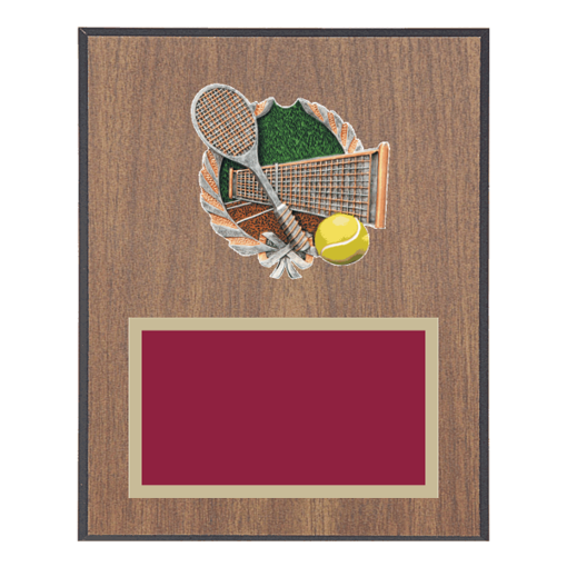 """8"""" x 10"""" Tennis Plaque with gold background plate, colored engraving plate and full color 3D resin Tennis medallion."""