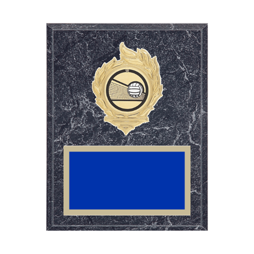 """7"""" x 9"""" Volleyball Plaque with gold background, colored engraving plate, gold flame medallion holder and Volleyball insert."""