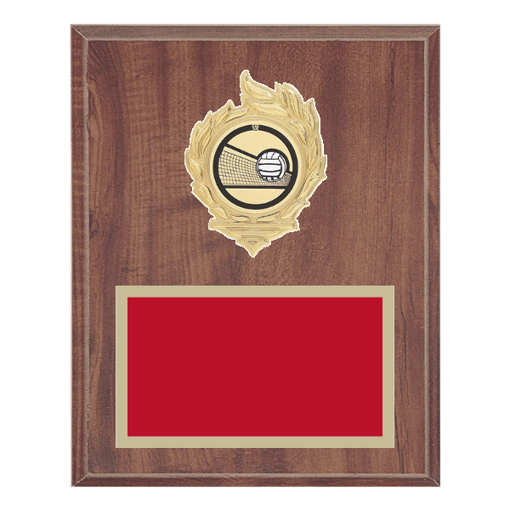 """8"""" x 10"""" Volleyball Plaque with gold background, colored engraving plate, gold flame medallion holder and Volleyball insert."""