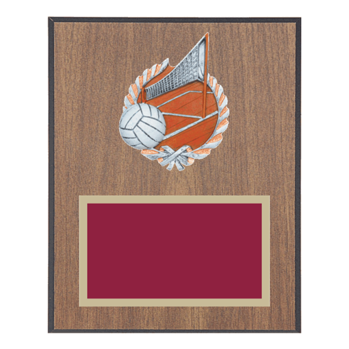 """8"""" x 10"""" Volleyball Plaque with gold background plate, colored engraving plate and full color 3D resin Volleyball medallion."""