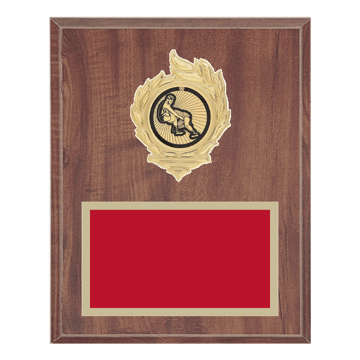 "8"" x 10"" Wrestling Plaque with gold background, colored engraving plate, gold flame medallion holder and Wrestling insert."