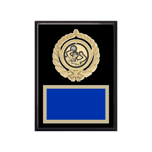 """6"""" x 8"""" Water Polo Plaque with gold background plate, colored engraving plate, gold open wreath medallion holder and Water Polo insert."""