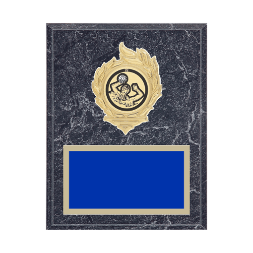 """7"""" x 9"""" Water Polo Plaque with gold background, colored engraving plate, gold flame medallion holder and Water Polo insert."""