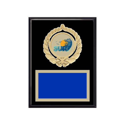 """6"""" x 8"""" Surfing Plaque with gold background plate, colored engraving plate, gold open wreath medallion holder and Surfing insert."""