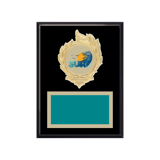 "6"" x 8"" Surfing Plaque with gold background, colored engraving plate, gold flame medallion holder and Surfing insert."