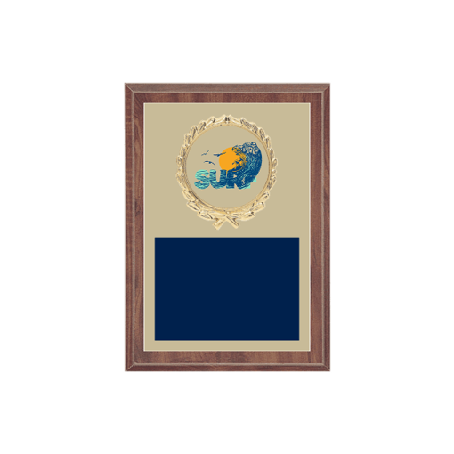 "5"" x 7"" Surfing Plaque with gold background plate, colored engraving plate, gold wreath medallion and Surfing insert."