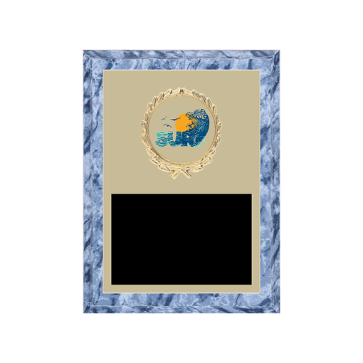 """6"""" x 8"""" Surfing Plaque with gold background plate, colored engraving plate, gold wreath medallion and Surfing insert."""