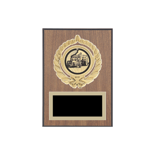 "5"" x 7"" Tractor Pull Plaque with gold background plate, colored engraving plate, gold open wreath medallion holder and Tractor Pull insert."