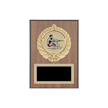 "5"" x 7"" Tug-of-War Plaque with gold background plate, colored engraving plate, gold open wreath medallion holder and Tug-of-War insert."