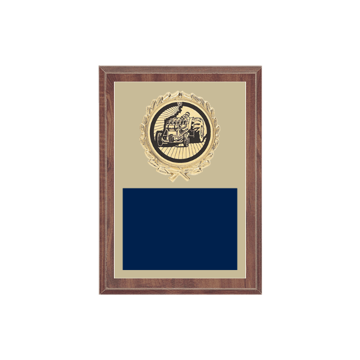 "5"" x 7"" Tractor Pull Plaque with gold background plate, colored engraving plate, gold wreath medallion and Tractor Pull insert."