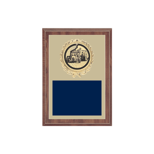 """5"""" x 7"""" Tractor Pull Plaque with gold background plate, colored engraving plate, gold wreath medallion and Tractor Pull insert."""