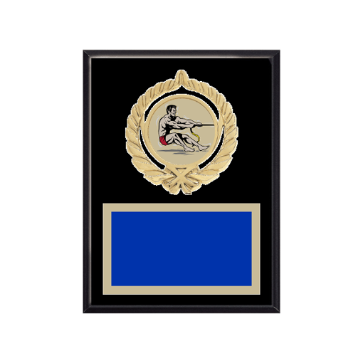"""6"""" x 8"""" Tug-of-War Plaque with gold background plate, colored engraving plate, gold open wreath medallion holder and Tug-of-War insert."""