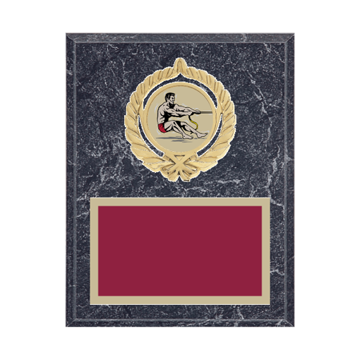 """7"""" x 9"""" Tug-of-War Plaque with gold background plate, colored engraving plate, gold open wreath medallion holder and Tug-of-War insert."""