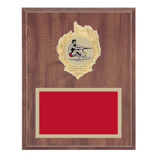 """8"""" x 10"""" Tug-of-War Plaque with gold background, colored engraving plate, gold flame medallion holder and Tug-of-War insert."""